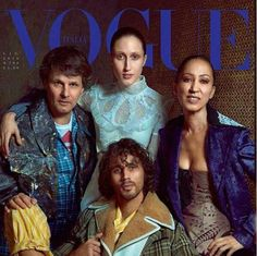 With her husband, daughter and son on the cover of Italian Vogue.