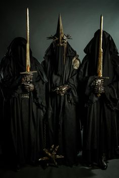 "Cosplay Nazgul by Teta-zlo.deviantart.com on @deviantART - From ""Lord of the Rings"", uploaded by the cosplayer on the left. Sorry, I'd go into more detail, but I only know the name of one of the Nazgul (the Witchking of Angmar, who's in the middle here)."