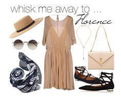 Whisk me away to  .... Florence ! by birdandknoll on Polyvore featuring Chloé, Aquazzura, Yves Saint Laurent, Zimmermann, Linda Farrow,Forever 21 and the divine Bird and Knoll hong kong - tea room rush cashmere blend scarf.