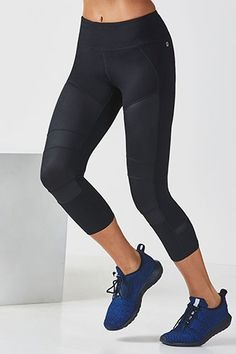 Rev up your routine with our liquid black moto leggings. Moisture-control, chafe-free fabric, and UPF 50+ keep you in the game. Extra pockets on the legs keep your belongings close to you pre-and-post cardio session.