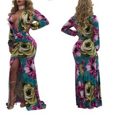 7d53ad4315 Sexy Deep V Neck Slit Pink Floral Maxi Dress 24282-2 US 10.5 Prom Party