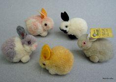 Steiff Woolen Rabbit x 5 Mixed Color Lot Bunny 4 cm one ID 1960s pom pom animals