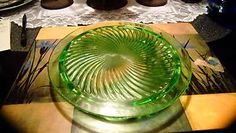 Anchor Hocking Green Swirl Depression Glass Footed Cake Plate 10  Vintage | eBay