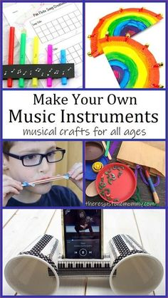 Kids will have fun crafting these homemade music instruments  #kidscrafts #craftsforkids Music Activities For Kids, Middle School Activities, Steam Activities, Preschool Activities, Sound Science, Science Experiments Kids, Science For Kids, Stem Projects For Kids, Stem For Kids