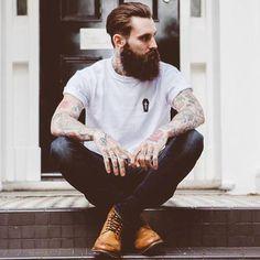 White T-shirt, Beard and Tattoo