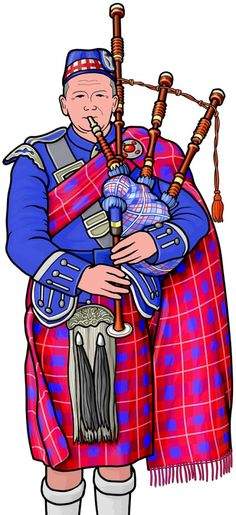 管楽器:グレート・ハイランド・バグパイプの演奏。 スコットランドのバグパイプ。