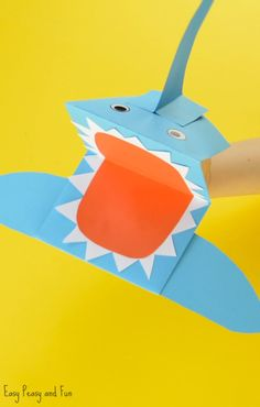 Cute Shark Paper Hand Puppet Craft Paper Plate Crafts For Kids, Animal Crafts For Kids, Summer Crafts For Kids, Halloween Crafts For Kids, Art For Kids, Whale Crafts, Monkey Crafts, Fish Crafts, Paper Bag Puppets