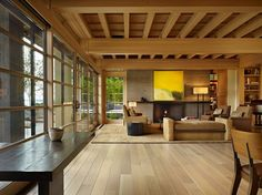 Japanese influenced Engawa House on the shores of Lake Washington in Seattle, Washington designed by Sullivan Conrad Architects.