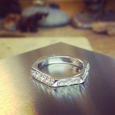 Hexagonal eternity band white gold and diamonds...