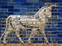 Le taureau, animal-symbole du dieu Adad, Porte d'Ishtar de Babylone.