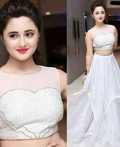 Latest Trend White Crop Top Lehenga is Asymmetrical Style Lehenga Choli worn by Rashmi Desai(Dil Se Dil Tak) with Stone Work Embroidery. Wedding Dresses For Girls, Party Wear Dresses, Girls Dresses, Stylish Girl Images, Stylish Girl Pic, Backless Evening Gowns, Crop Top Designs, White Costumes, Dress Neck Designs