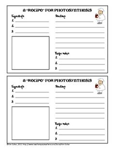 Photosynthesis Recipe Card. Can make own without paying.