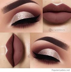 Matte brown lips and white glitter eye makeup