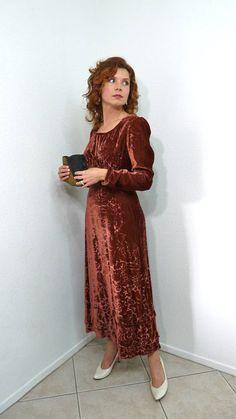 Vintage 60s Velvet dress Maroon Burnout 30s design gown