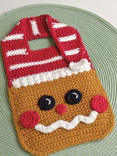Crochet pattern Gingerbread Baby Bib Drool Bib Spit Bib Burp Bib Food Bib for Christmas babies and t Crochet Baby Bibs, Crochet Baby Clothes, Crochet Gifts, Crochet For Kids, Baby Knitting, Crochet Children, Newborn Crochet, Christmas Crochet Patterns, Holiday Crochet
