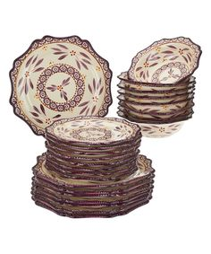 This Eggplant Old-World 24-Piece Dinnerware Set by temp-tations is perfect! #zulilyfinds