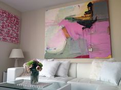 """Menstrual Mountain II,"" an original painting by Diana Delgado in a New York City apartment."