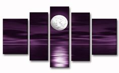 Amazon.com: Unixtyle 100% Hand Painted Oil Painting on Canvas Purple Skyline Sea White Full Moon Night Wood Framed Landscape Wall Art Painting Abstract Home Decoration 5 Pcs/set: Paintings