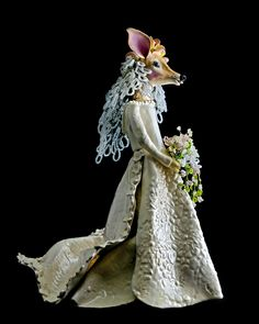 Animal deer bride sculpture of paper clay and glazes, veil and bouquet flowers of French glass beads