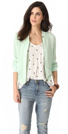 Joie Empire Silk Bomber Jacket -   I'm loving all the mint-green I'm seeing in spring/summer fashion.
