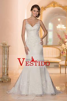 2015 V Cuello vaina / columna vestido de novia apliques blusa con apliques de raso y tul