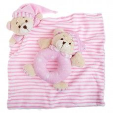 Koch Sleepytime Rattle and Bear Blankets are the perfect gift for any newborn. Soft and easy to hold, they provide comfort while developing fine motor skills and stimulating the senses of sight, touch and hearing. Price: $12.00   http://premmieto2.com.au/product/koch-teddy-bear-sleepytime-rattle-bear-blanket-newborn-toys-pink/