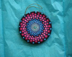 """Hand painted yellow, green, blue, and pink mandala on hanging 4"""" round ornament dot pointillism art"""