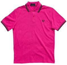 FRED PERRY TWIN TIPPED POLO SHIRT MAGENTA - Keep it classic in a slim fit Fred Perry polo! This bright magenta cotton polo shirt features black piping with a matching black embroidered Laurel Wreath emblem on the chest. Fred Perry Polo, Twin Tips, Laurel Wreath, Magenta, Twins, Polo Shirt, Polo Ralph Lauren, Bright, Slim