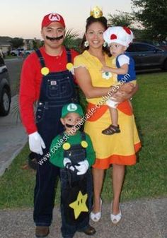 Homemade Mario, Luigi, Toad and Princess Daisy Group Costume