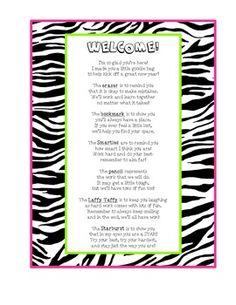 Zebra Theme Back To School Goodie Bag Poem