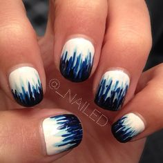 white with blue tips