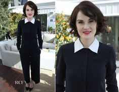 Love this men's wear look on Michelle Dockery In Moschino – DuJour Magazine Cover Party