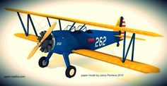 WW2`s Boeing PT-17 Stearman - Army Trainer Plane Paper Model - by Paper Replika - == -  This is a model of Boeing PT-17 Stearman, from WWII era. A biplane from 40s, it was used as a trainer plane for many US fighter pilot. Now the plane is used for acrobatic shows, private owned or even for crop dusting. This nice model in 1/40 scale was created by Indonesian designer Julius Perdana, from Paper Replika website.