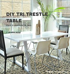 Free DIY Furniture Plans // How to Build a Tri Trestle Table - The Design Confidential Diy Dining Table, Trestle Table, Solid Wood Dining Table, A Table, Patio Table, Diy Patio, Diy Furniture Plans, Dining Room Furniture, Furniture Projects