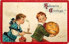 Halloween 1908 Artist Signed Brundage Boy Jack o Lantern Girl Candle Postcard Halloween Circa 1908 Artist signed by Frances Brundage Boy with Jack o Lantern & girl with candle & apples. Used Sam Gabri