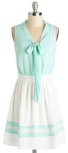 Mint & White Dress with Pussy Bow