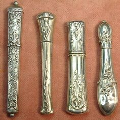 ANTIQUE SET OF FOUR SILVER FRENCH NEEDLE CASES c1890 £108