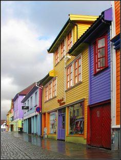 Colorful street in Norway. Øvre Holmegate, in Stavanger