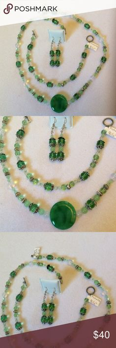 """Handmade OOAK Green Agate & Prehnite Jewelry Set This set features a green agate focal with Prehnite and glass.  The SP spacers and bead caps accent and make contrast.  The 21.5"""" necklace has a secure twist closure.  The 8.5"""" toggle bracelet features the matching bead combination and the 2.25"""" earrings have comfortable hooks and stoppers.  Enjoy and come back soon! Handmade Jewelry"""