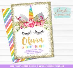 Printable Rainbow and Gold Glitter Unicorn Face Birthday Invitation | Pink and Blush Floral Invitation | Magical Girls 1st Birthday | Horse Party | Favor Tags | Cupcake Toppers | Food Labels | Signs | Banner | Party Package Decor