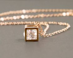 tiny square necklace square cube necklace dainty by applelatte