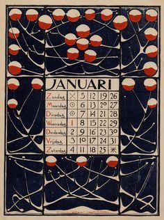 ¤ Kalender voor 1896 - Januari. [13] plates : chiefly ill. (col.) ; 34 x 24 cm. Créateur : Nieuwenhuis, Theodoor Willem, 1866-1951 (illustrator) Editeur:Scheltema & Holkema.