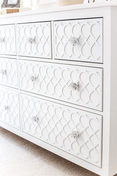 How to get a high-end carved detail look for less on a plain IKEA dresser using appliques. Bedroom Furniture Makeover, Painted Bedroom Furniture, Refurbished Furniture, Ikea Furniture, Furniture Online, Furniture Stores, Discount Furniture, Furniture Ideas, Furniture Buyers