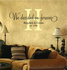 We Decided on Forever Personalized Vinyl lettering Wall Art Decal Monogram