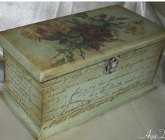 "Képtalálat a következőre: ""jewellery box decoupage"" Decoupage Wood, Decoupage Vintage, Shabby Vintage, Altered Boxes, Tea Box, Pretty Box, Painted Boxes, Art Design, Woodworking Crafts"