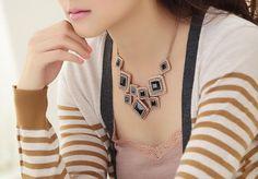 Gorgeous Cluster Crystal Statement Necklace - F18 Crystal Statement Necklace, Chain, Crystals, Jewellery, Retro, Fashion, Moda, Jewels, Fashion Styles