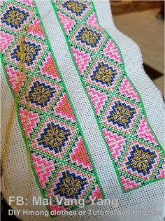 gold colored thread used in Hmong paj ntaub