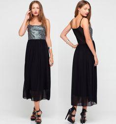 Elegancka sukienka - połączenie srebrnych cekinów na górze i długiej, czarnej maxi <3