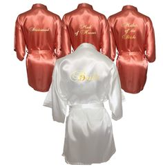 White & Coral Set of 3 Bridal Robes...Bridesmaid Robe...Mother of the Bride Robe...Maid of Honour Robe...Robe Set...Bridal Party Robe Set by BridalDelightsAus on Etsy