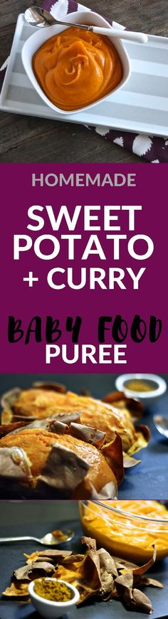 Sweet Potato with Curry Homemade Baby Food Puree is a fun and exotic first puree for baby!